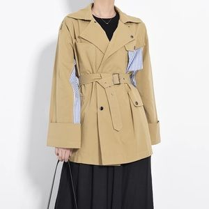 Belted Trench coat with stripe shirt detail